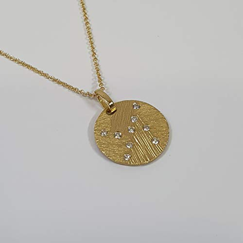 - solid textured 20mm 14k yellow gold circle necklace with diamond accents on 14k yellow gold chain