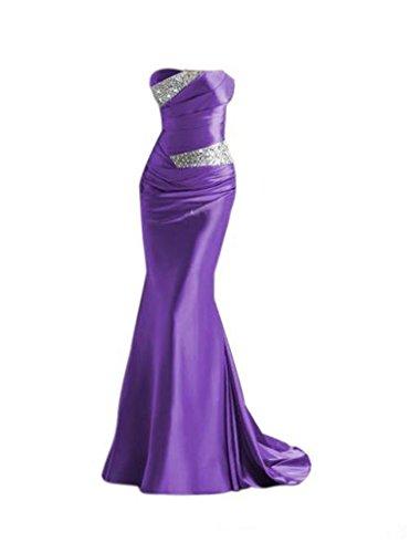 Trägerlos Damen Violett Mermaid Ballkleid emmani Zusammenarbeit Perlen mit 1Zgaz6q6