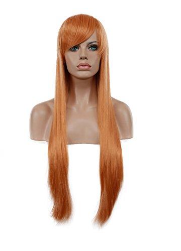 Diy-Wig Women Cosplay Hair Long Full Wigs Straight (75cm/30in,Orange)