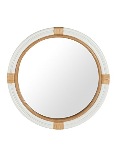 Kouboo Nautical Decorative Wall Mirror in Rattan, White and Natural Color (Rattan In)