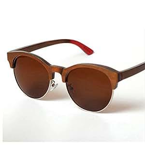 LUKEEXIN Colorful Wooden Semi-Rimless Women's Sunglasses Handmade Cat Eyes Bamboo Sunglasses UV Protection Sunglasses Driving Sunglasses Beach Sunglasses (Color : Brown)
