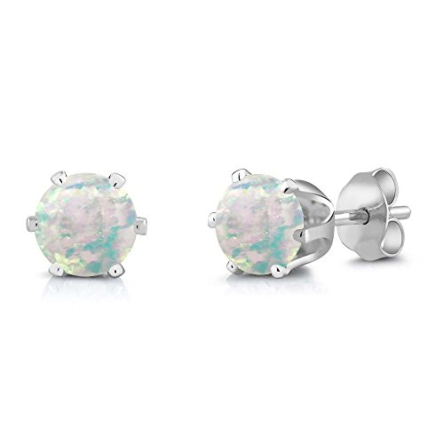 0.60 Ct Round Cabochon 6mm White Simulated Opal Brass Silver Plated Brass Stud Earrings