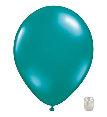 10 Pack 11 Inch Transparent Jewel Tone Latex Color Balloons with Matching Ribbons (Teal)