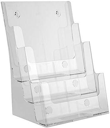 卓上収納ラック ファイルラック 書類ホルダー 書類トレー 文具収納 デスクトップデータディスプレイスタンドアクリルA4 3層新聞と雑誌の宣伝フレームカードボックス(クリアクリスタルカラー) 机上用品 整理整頓 オフィス 寝室 リビング収納 (Color : Clear)