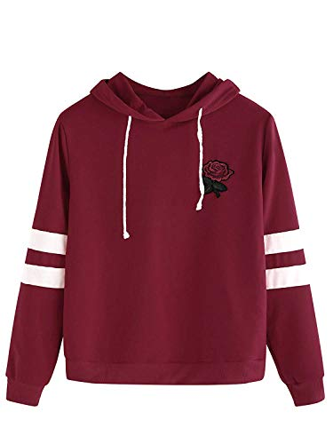 (DIDK Women's Embroidered Rose Patch Stripe Sleeve Hoodie Sweatshirt Red M)