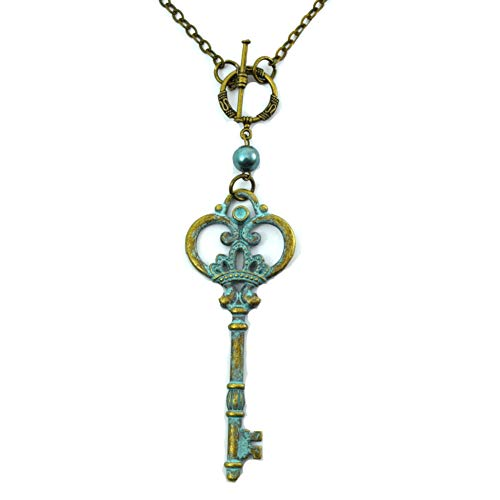 Running With Scissors Verdigris Key Blue and Gold Nautical Charm Necklace