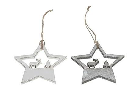 Wooden Hanging Stars Laser Cut Grey White Washed 10 Cm Set Of 6