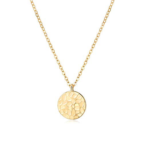 SEAYII Women Moon Necklace Gold Full Moon 14K Gold Fill Harvest Moon Phase Coin Disc Double Side Hammered Pendant Dainty Chain Layer Boho Simple Delicate Handmade Gold Jewelry Gift ()