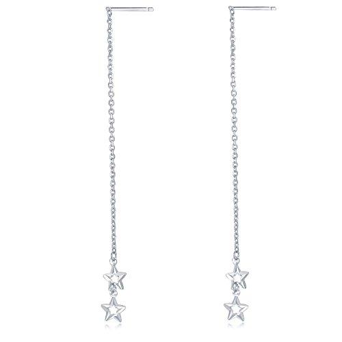 - MaBelle 14K White Gold Diamond-Cut Twin Stars Threader Link String Earrings