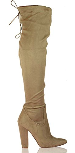 Celebrity Over Long Shoesdays Shoes High Block Knee Suede Thigh Stretch Heel Mocha Boots The Sexy Ladies WXXT6qP