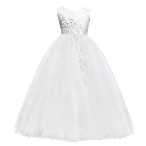 IBTOM CASTLE Princess Flower Long Girls Pageant Tutu Dresses Kids Prom Puffy Tulle Dance Party Fall Wedding Bridesmaid Ball Gown White 8-9 Years