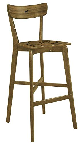 "The Furniture Cove 1-30"" Tall Walnut Finish Bar Stool with a Backrest Featuring an Authentic Custom Branding Iron Design ()"