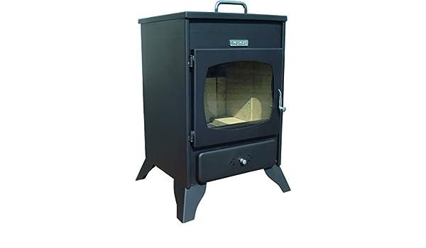 Calentador a Leña/Estufa de Leña & Chimenea/Mini-Horno/Mod. Etna. Salida: 9kW. Fabricada en Acero Laminado con Aislamiento de Fibra de Vidrio: Amazon.es: ...