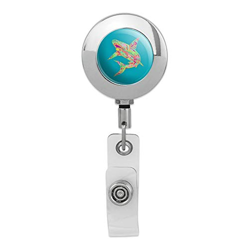 Mosaic Lily Shark Tropical Island Surf Retractable Reel Premium Metal Chrome Badge ID Card Holder Clip