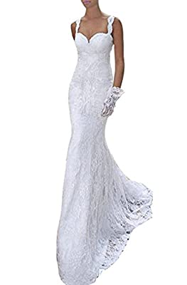 Snow Lotus Women's Honey Lace Mermaid Trailing White Wedding Gown