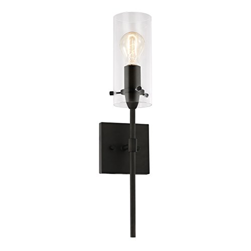 Light Society Montreal Cylindrical Wall Sconce, Oil Rubbed Bronze with Clear Glass Shade, Contemporary Minimalist Modern Lighting Fixture (LS-W238-ORB-CL)