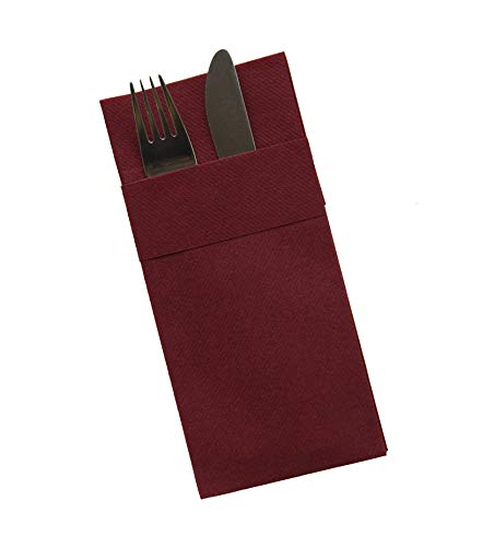 (Moyes Home Kangaroo Air Laid Napkin,Perfect Size(16x16 inches,Pack of 50) Linen-Feel, Disposable Like Soft & Perfect Dinner Napkins with Built-in Flatware Pocket for Weddings or Events (Bordeaux))