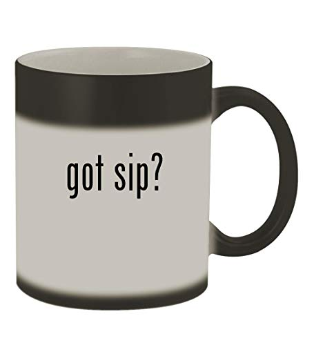 got sip? - 11oz Color Changing Sturdy Ceramic Coffee Cup Mug, Matte Black