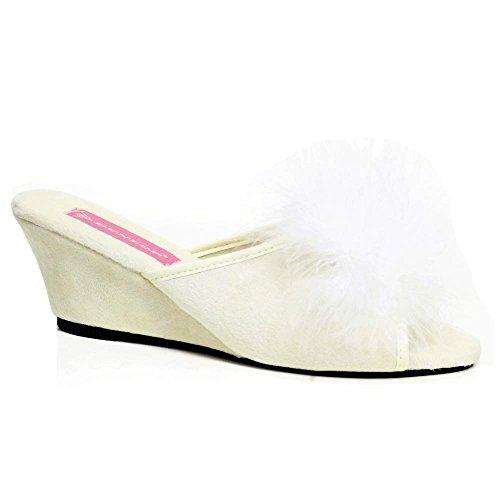 Pantofole Da Donna Del Noto Marchio Dunlop Con Gioielli In Pelliccia E Tacco A Zeppa, Misure: 35,5, 37, 38, 39, 40,5, 42, - Avorio - Misura: 36 Eu