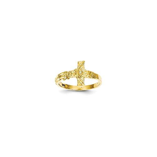 Diamond Cut Crucifix Ring - Roy Rose Jewelry 14K Yellow Gold Diamond-cut Crucifix Ring ~ Size 7
