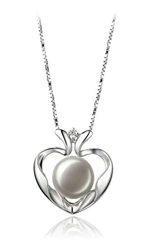 Marlina Heart White 9-10mm AA Quality Freshwater 925 Sterling Silver Cultured Pearl Pendant For Women (Necklace Pearl Fw Pendant)
