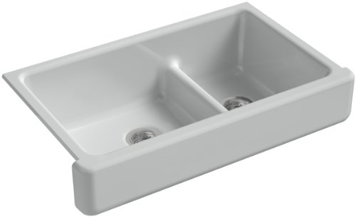 Grey Barrier Ice (KOHLER K-6426-95 Whitehaven Smart Divide Self-Trimming Under-Mount Apron-Front Double-Bowl Kitchen Sink with Short Apron, 35-1/2-Inch X 21-9/16-Inch X 9-5/8-Inch, Ice Grey)