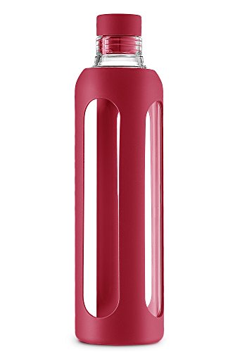 SWIG SAVVY Stylish Real Borosilicate 20-oz Glass Water Bottle with Silicone Sleeve - Silicone Cork Cap - Red