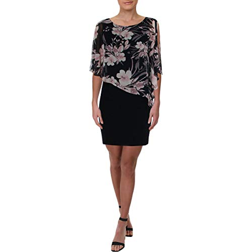 (Connected Apparel Womens Petites Floral Chiffon Cocktail Dress Navy 6P)