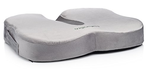 Naturalico 100% Memory Foam Portable Seat Cushion with Cooling Gel Pad for Coccyx Tailbone and Sciatica Back ()