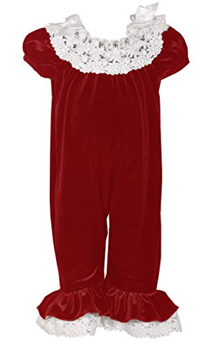 Bonnie Baby Christmas Outfits - Baby Girls Adorable Velvet Red Bubble