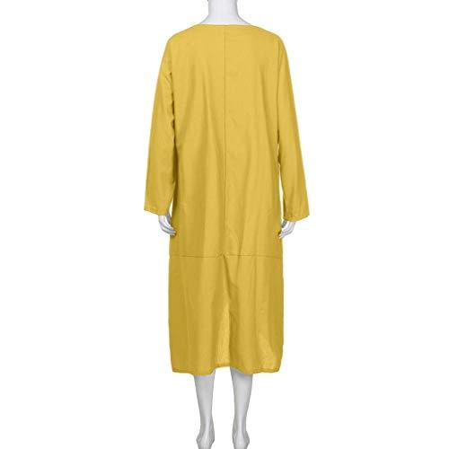Vestido Calle Plus y Vintage Larga de Camiseta Sonnena Amarillo otoño Blusa Vintage Vendimia Playa Manga Maxi de túnica Vestido Bohemian Talla de la Vestido Mujer Traje de Largo la Las Mujeres w8fEzO