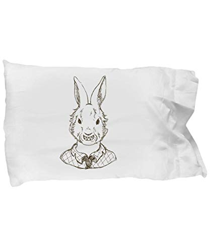 (Cute Pillow Covers Design Scary Bunny Halloween Costume Gift Pillow Cover)