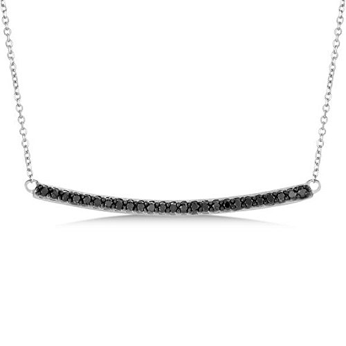 Ladies Dazzling Pave Set Horizontal Black Diamond Bar Necklace In Polished 14k White Gold (0.25 Ct Dazzling Diamond)