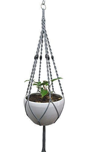 6 Legs Macrame Natural Jute and Cotton Plant Hanger & Holder and Metal Ring, 51-inches Length (Without The White Pot and Plant) (Jute) (Gray-Cotton)