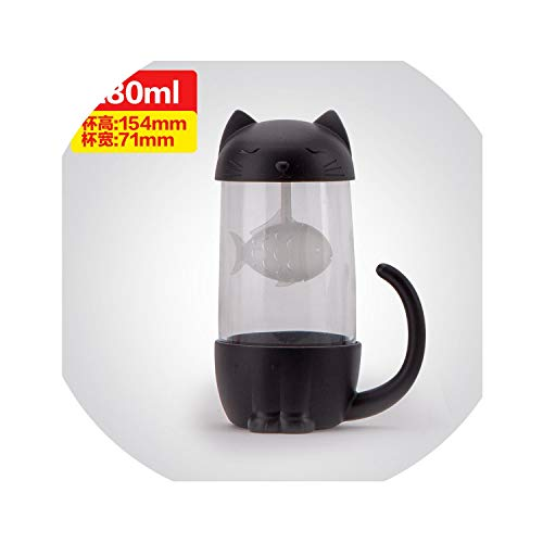 Love-pink Tea Cup Creative Dog Cat Design Coffee Cup with Filter New Year Gift for Children Birthday Water Tea Cup,200-400ml,cat Black (Creative Html Design)