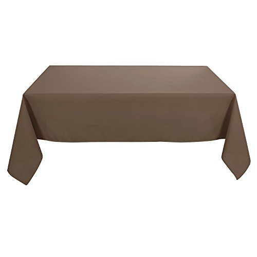 Deconovo Solid Oxford Square Water Resistant Stain Free Tablecloth For Dining Room 60 by 120 Inch Brown