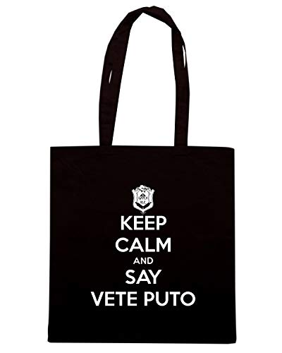 PUTO Borsa Shopper Shirt KEEP SAY VETE TKC0202 Nera Speed AND CALM 7Hvqx4x5