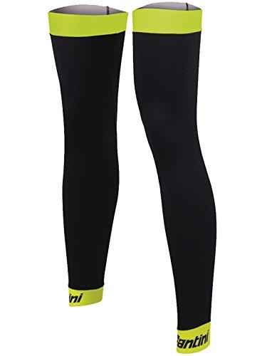 (Santini Yellow 365 Mid Season Leg Warmers - Pair (XL/XXL, Black))