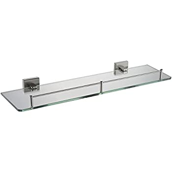 Bathroom Glass Shelf With Rail, Angle Simple SUS304 Stainless Steel ...