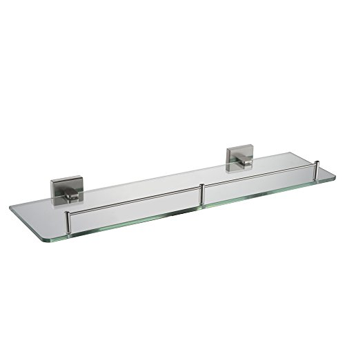 Bathroom Glass Shelf With Rail, Angle Simple SUS304 Stainless Steel Storage Rack Single Layer Shower Shelf Thick Tempered Glass Lavatory Organizer Vanity Shelf Over Kitchen Sink Wall Mount by Angle Simple