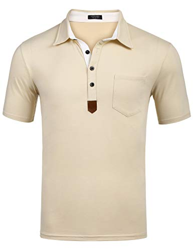 COOFANDY Men's Casual Short Sleeve Zip Polo Shirts Collar Prints Patchwork Polo T-Shirts (XXL, Cream)