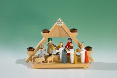 Rudolphs Schatzkiste Candle Holder Mini. - Light Gables with Nativity Scene u.3 of Kings for Doll Candles (7mm x 40mm) Height of Approx. 7.5 cm Candle Holder Candle Candelabrums Seiffen ore Mountains