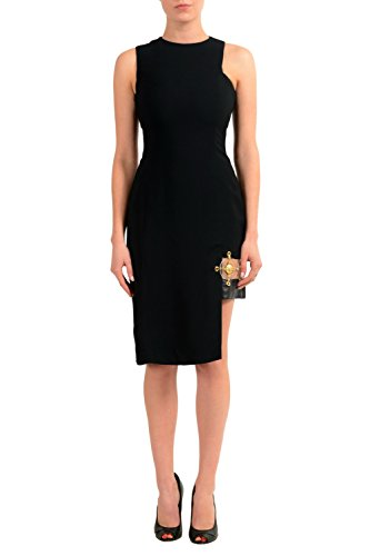 Versace Versus Black Sleeveless Asymmetrical Women's Sheath Dress US L IT - Women Versace Clothing