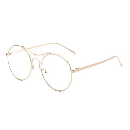 bleu Lunettes clair monture de ronde métalliques anti lunettes à Bordures Gold simples conception pleines Delaying aXYqcdd