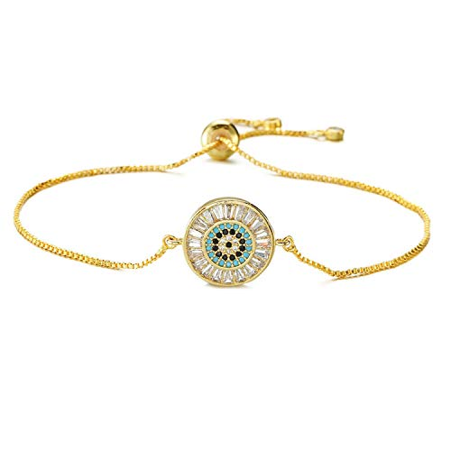 (Fashion Women Wedding Jewelry Copper Round Charm Bracelet with Cubic Zirconia Micro Paved,Gold-Color)