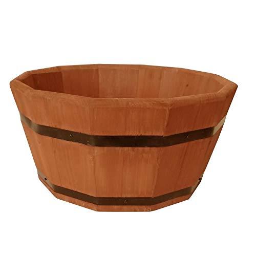 17-in W x 7.8-in H Cedar Wood Barrel Planter