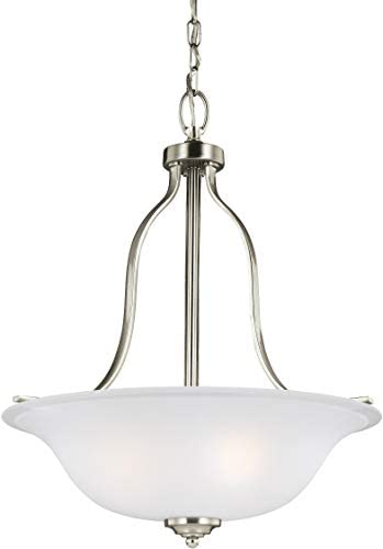 Sea Gull Lighting 6639003-962 Emmons – 100W Three Light Pendant, Brushed Nickel Finish with Satin Etched Glass