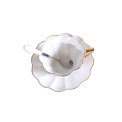 KLYHCHN Ceramic Gold Edge Creamy Ceramic Coffee Cup Saucer Retro Afternoon Teacup Saucer Juice and Milk Tableware Home…