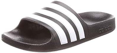 adidas Australia Boys Adilette Aqua Slides, Core Black/Footwear White/Core Black, 1 US