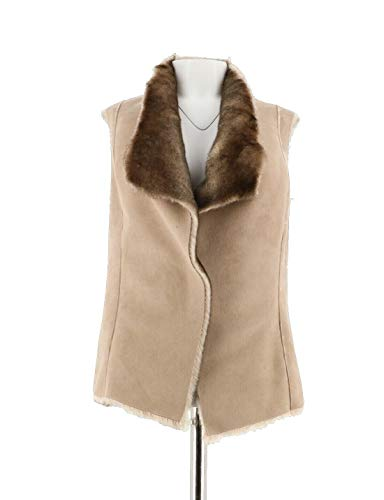(Gili Faux Suede Faux Fur Open Front Reversible Vest Soft Fawn 8 New A271506)